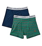Tommy Bahama Green Striped Cotton Stretch Boxer Briefs - 2 Pack 2131040