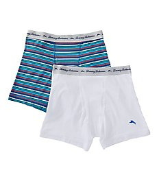 Tommy Bahama Blue Striped Cotton Stretch Boxer Briefs - 2 Pack 2131043