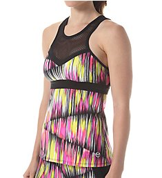 Trina Turk Digikat High Neck Mesh Detail Shelf Bra Tank TR65A59