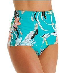 Trina Turk Shangri La Floral Shirred High Waist Swim Bottom TT9HF98