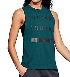 Under Armour Charged Cotton Side Slit Hem Graphic Muscle Tank 1310482